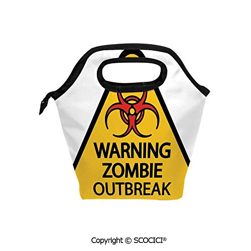 Reusable Printed Design Lunch Bag Warning Zombie Outbreak Sign Cemetery Infection Halloween Graphic Decorative Lunch Tote bag for Work and School. -