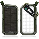 Solar Charger 8000 mAh, 3 USB Ports for (Android, Samsung, iPhone, iPad), 21 LED Light Flashlight