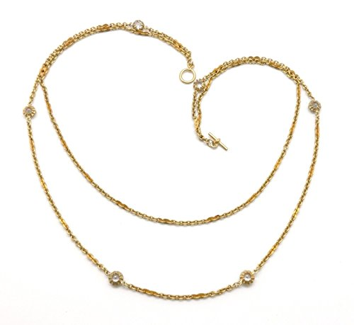 Catherine Popesco Cannes Clear Crystal Double Strand Swarovski Gold Plated Necklace 20.5