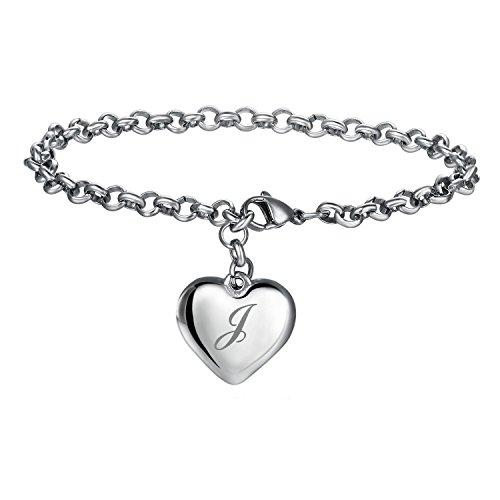 17mile Initial Charm Bracelets Stainless Steel A Letters Alphabet Heart Bracelet Adjustable for Women