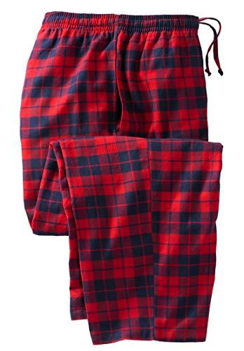 KingSize Men's Big & Tall Flannel Plaid Lounge Pants, Red Plaid Tall-L