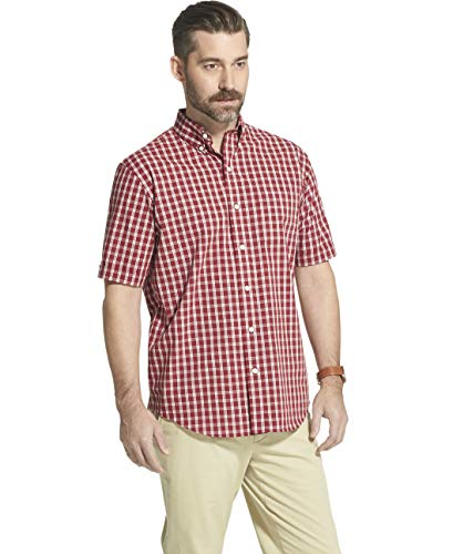 - Arrow 1851 Men's Hamilton Poplins Short Sleeve Button Down Plaid Shirt, Biking red, Large