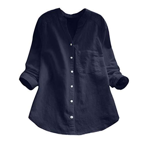 Sunhusing Women Solid Color Cotton Linen V-Neck