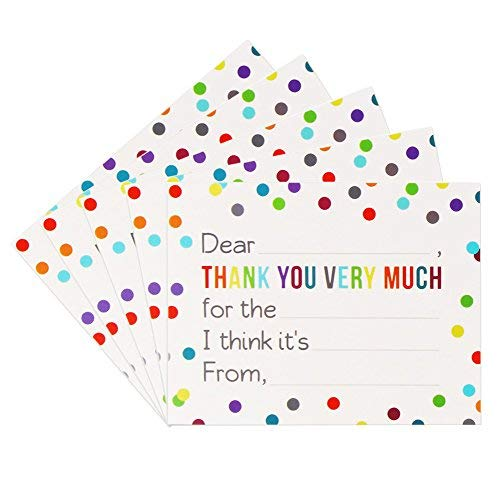 Fill in the Blank Thank You Cards with Envelopes for Kids Pack of 36 Confetti Dot Flat Notes