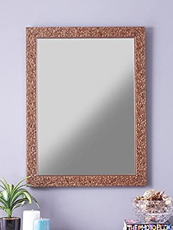 Buy 999store Fiber Framed Large Decorative Wall Mirror Golden 24x18 Inches Online At Low Prices In India Amazon In