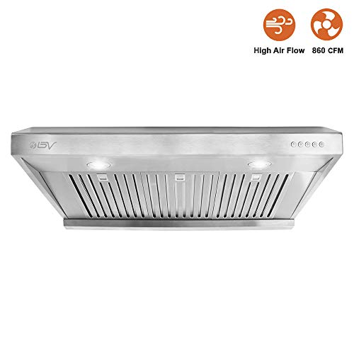 BV Range Hood - 36 Inch 860 CFM Under Cabinet Stainless Steel Kitchen Range Hoods, Dishwasher Safe Baffle Filters w/LED Lights, Ducted Kitchen Exhaust Fan Hood