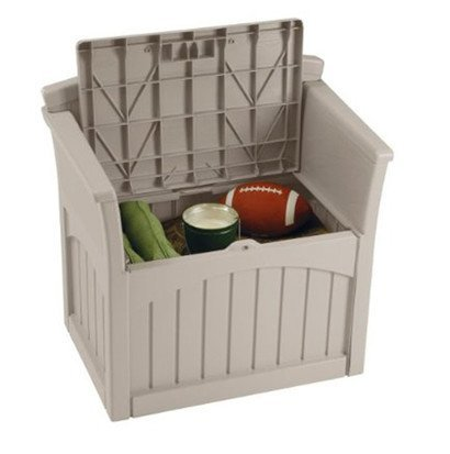 Gardening and Lawn Care-Storage Containers-Suncast 31 Gallon Patio Seat-Stay Dry Design,No Tools Needed and Great for Storing your Outdoor Stuffs