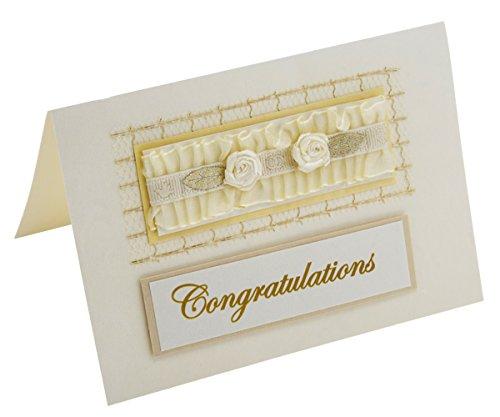 Ribbon Roses Ruffle Congratulations Card - Fair Trade & Handmade