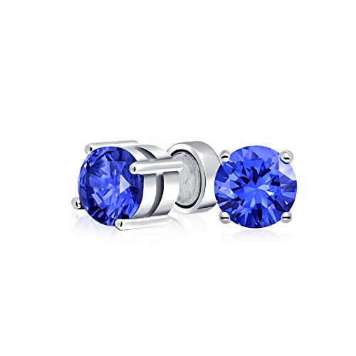 - 1.25CT Round Royal Blue CZ Simulated Sapphire Magnetic Solitaire Clip On Stud Earrings For Non Pierced Sterling Silver