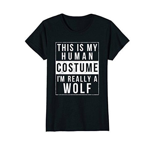 Womens Wolf Halloween Costume Shirt Funny Easy for Kids Men Women Medium - Last For Halloween Adults Ideas Costume Minute