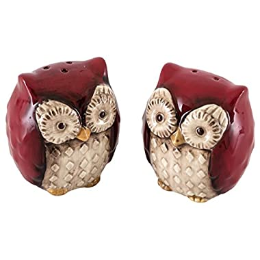 Grasslands Road Crimson Hollow Owl Salt & Pepper Shakers Set, Red