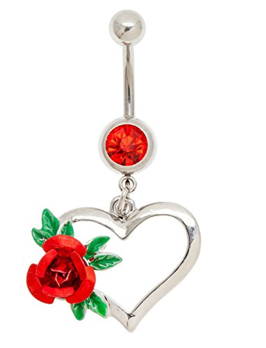 Silver Colored 316L Surgical Steel 14 Gauge Belly / Navel / Bellybutton Piercing / Bananabell With Red Rhinestone / Crystal And Heart Shaped Pendant / Dangle / Charm With Red Rose Decoration By VAGA ()