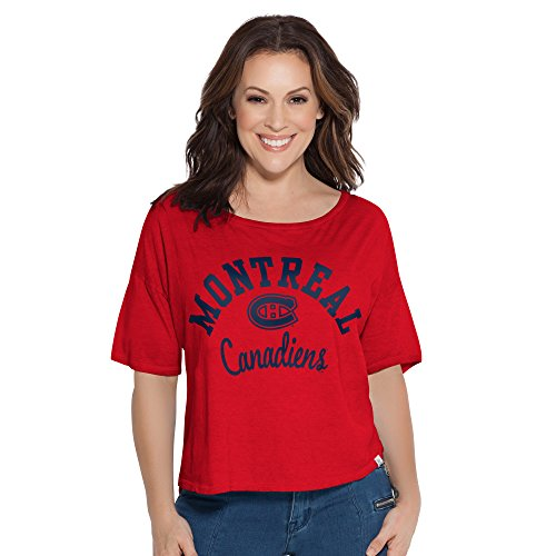 NHL Montreal Canadiens Adult Women Touch S Base Reversible Tee,Medium,Red (Lighting Montreal Vintage)