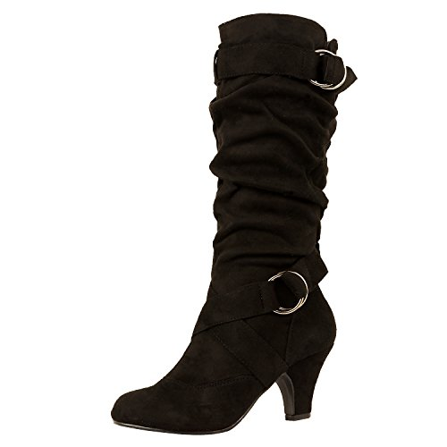 Guilty Schuhe Frauen Winter Mitte Kalb Strappy Slouchy Schnalle Low Kitten Heel Mode Stiefel 38 Schwarzes Wildleder