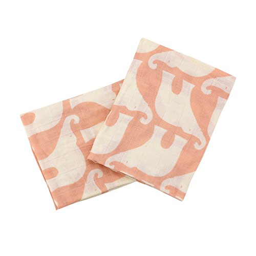 Milkbarn Organic Cotton Burp Cloths (2 pack) (Rose Elephant) ()