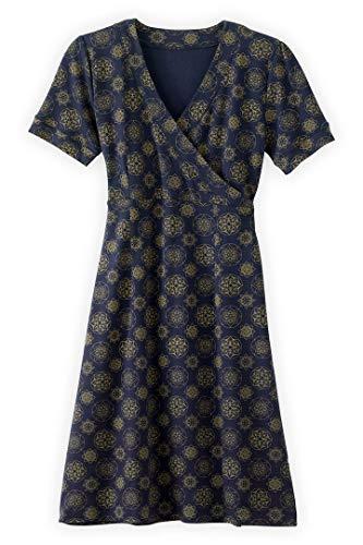Fair Indigo Fair Trade Organic Faux Wrap Dress (M, Midnight Mandala)