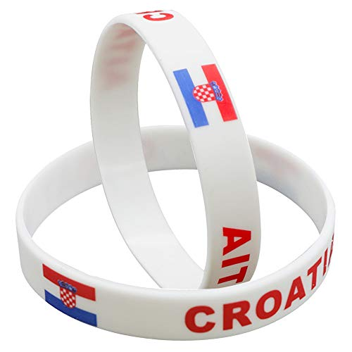IDL Soccer Silicone Bracelets, 2018 World Game Bracelet - Rubber Wristbands 2 Pack Party Favor Souvenir Gift - Flag Bracelet | 32 Countries | Unisex Design, for Sports Fans (Croatia) ()