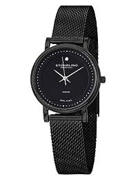 Stuhrling Original Women's 734LM.03 Classic Ascot Casatorra Elite Swiss Quartz Genuine Diamond Black Mesh Bracelet Watch