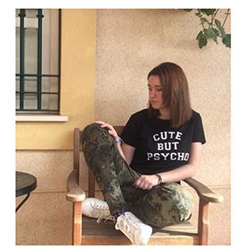 (New Cotton Love Print T Shirt for Womens Summer T-Shirt Casual Kawaii Shirt Cute Black M)