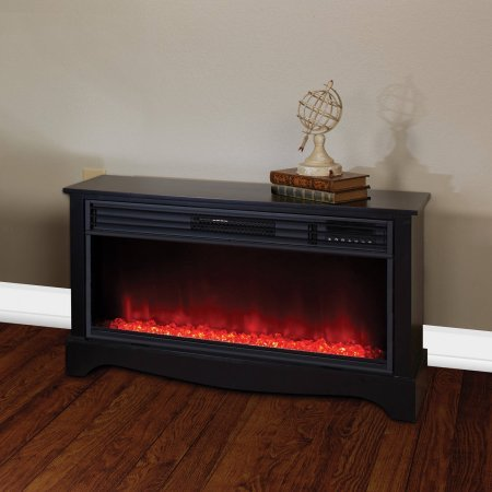Black Cabinet 20'' Tall Heater Fireplace with Color-Change LED Affect by Prokonian