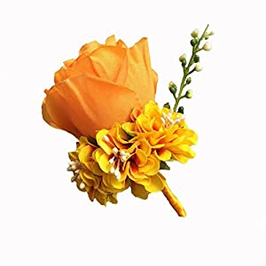 WeddingBobDIY Boutonniere Buttonholes Groom Groomsman Best Man Rose Wedding Flowers Accessories Prom Suit Decoration (Gold) 8