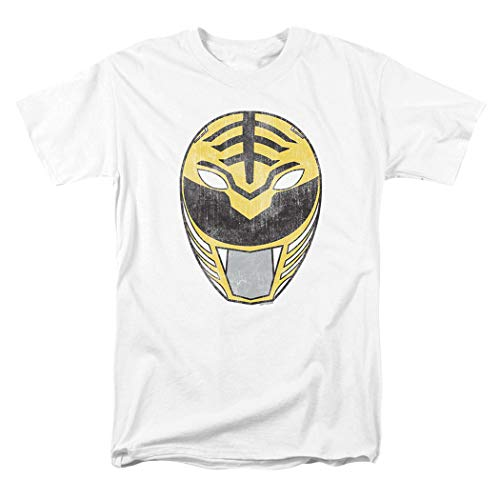 Power Rangers White Ranger Mask T Shirt & Exclusive Stickers (XX-Large)]()