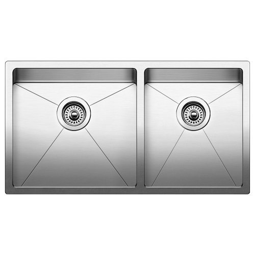 Blanco 519550 Quatrus R15 Under Mount Equal Double Bowl Kitchen Sink, Large, Stainless Steel by Blanco