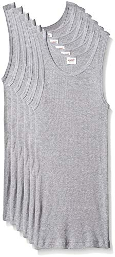 (GREAT SPORT Men's 6 Pack Cotton Color A-Shirt Tank Top Muscle Shirts (3XL, Heather Grey))