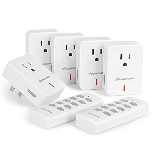 (DEWENWILS Remote Control Outlet Plug Wireless On Off Power Switch, Programmable Remote Light Switch Kit, 100ft RF Range, Compact Design, ETL Listed, White (2 Remotes + 5 Outlets Set))