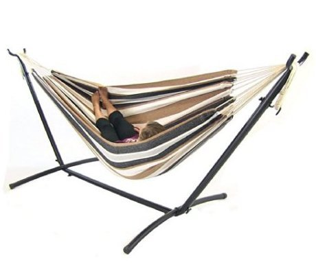 Double Hammock with Space Saving Steel Stand Includes Portab