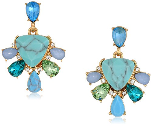 Carolee Turquoise Garden Collection Women's Cluster Stud Clip On Earrings, Gold/Blue Tonal