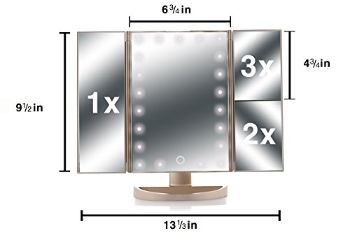 #@ Asani Tri-Fold Lighted Magnification Makeup Mirror w/ 21 LED Lights & Touch Screen Controls ...