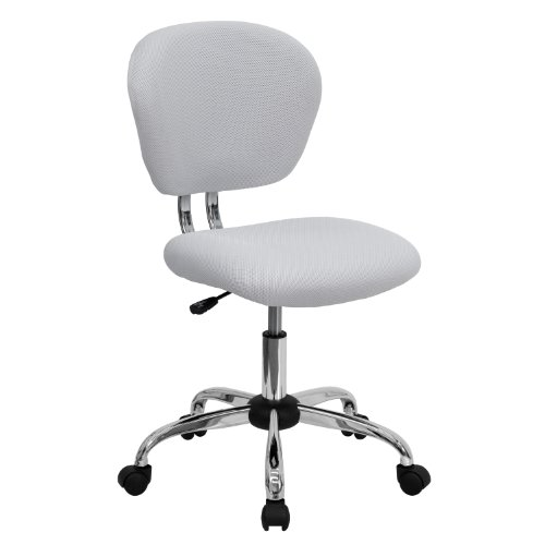 Flash Furniture Mid-Back White Mesh Padded Swivel Task Office Chair with Chrome Base (Modern Source Reviews Furniture)