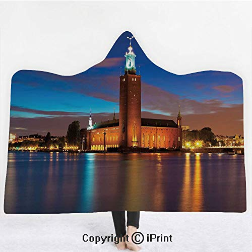 Light 3 Stockholm Bath - European 3D Print Soft Hooded Blanket Adult Premium Throw Blanket,Lightweight Microfiber,Stockholm Scenic Night at City Hall Old Town Enchanted Town Sweden View,All Season for Adult(60