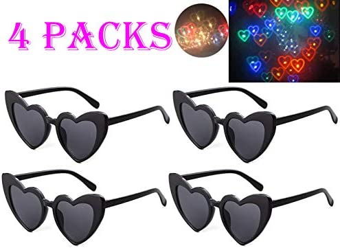 SN-RIGGOR 4 Packs Rainbow Hearts Fireworks Diffraction Glasses Special Effect Light 3D Glasses Prism Glasses for Outdoor Music Party/Bar/Fireworks Displays/Holiday Lights/Club/Concert Lights (Black)