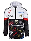 SCREENSHOTBRAND-S51801 Color Block Lightweight Graffiti Print Windbreaker Jacket-Black-Small