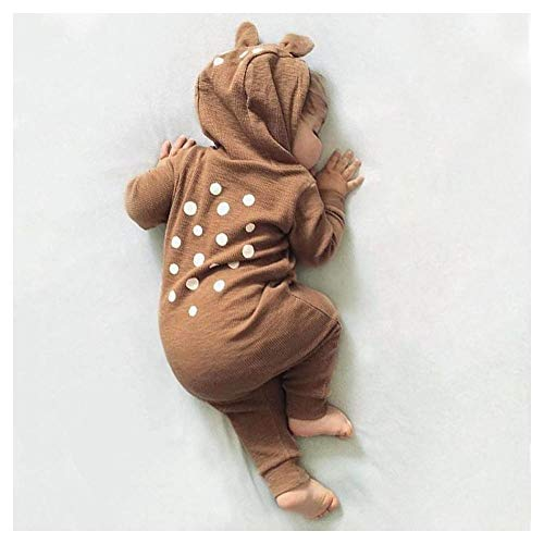 (FidgetGear Baby Boy Girl Bambi Deer Romper 3D Ears Hooded Jumpsuit Bodysuit Outfit Clothes Brown 6-12)