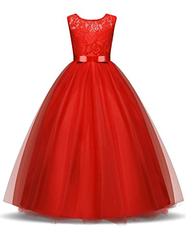 NNJXD Girl Lace Sleeveless Flower Party Tutu Princess Tulle Dress Size (140) 7-8 Years Red