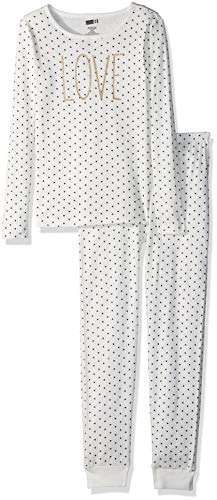 Crazy 8 Girls' Big 2-Piece Long Sleeve Tight Fit Pajama Set, Love dot, -