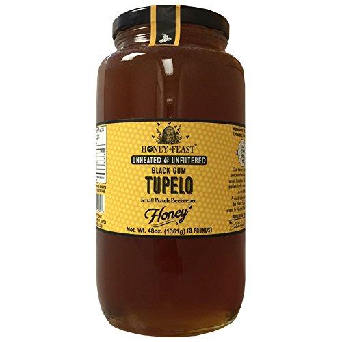 Black Gum TUPELO Honey - 3 Pound Glass Jar. Raw, Unheated, Unfiltered USA Honey Feast brand honey. Hand crafted small batch beekeeper honey from Florida. USA Honey.