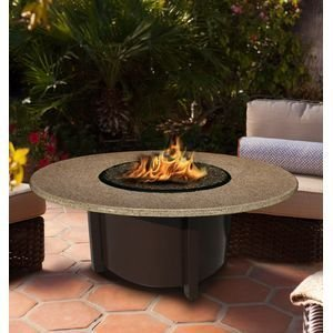 California Outdoor Concepts 5010-BR-PG1-SUN-42 Carmel Chat Height Fire Pit-Brown-Diamond White Glass-Sunset Gold - 42 in.