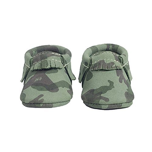 Freshly Picked Soft Sole Leather Baby Moccasins - Green Camo - Size 7 by Freshly Picked