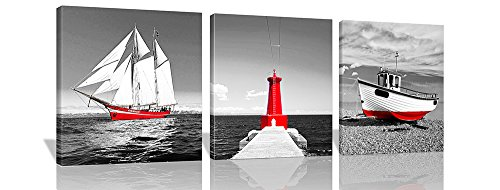 Spirit Up Art 3Pcs/Sets Huge Modern Giclee Prints Artwork Red Sailboat Tower Pictures Photo Paintings Print on Canvas, Wall Art for Home Walls Decor, Stretched and Framed, Ready to Hang, 16x16inches