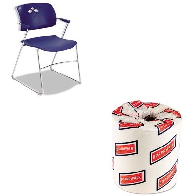 KITBWK6180SAF4286BU - Value Kit - Safco Veer Series Stacking Chair With Arms (SAF4286BU) and White 2-Ply Toilet Tissue, 4.5quot; x 3quot; Sheet Size (BWK6180) by Safco