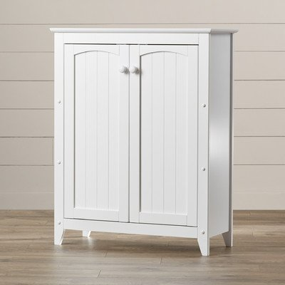 2 Door Solid Wood Accent Cabinet, Removable Knobs And Shelves, White Painted And Lacquered Finish by August