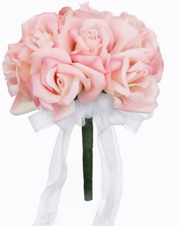 Amazon Com Pink Silk Rose Toss Bouquet Silk Bridal Wedding
