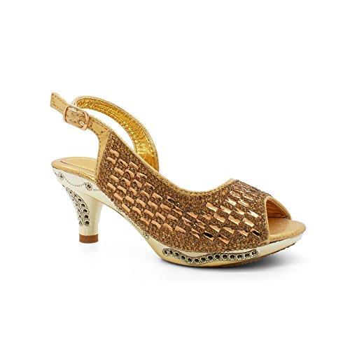 London Footwear ,  Mädchen Peep Toes Gold