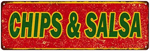 Chips & Salsa Sign Vintage Mexican Food Restaurant Decor Retro Signs Wall Art Tin Decorations Plaque Cantina Gift 6 x 18 Matte Finish Metal 106180067006