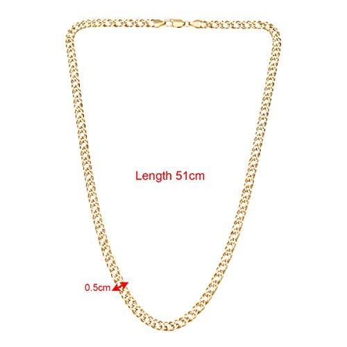 Revoni Bague en or jaune 9carats-6.2G fine Gourmette Double collier de 51cm/50,8cm Longueur et largeur 5mm