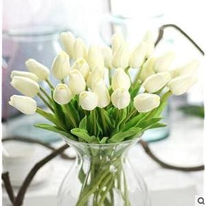 Cupcinu Cupcinu Artificial Flowers Artificial Tulips Silk Tulip Flowers Real Touch Tuplip Flowers for Wedding Bouquet Home Garden Party Decor (10Pcs, White) 77